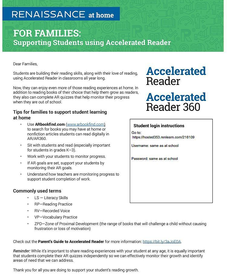 Accelerated Reader at Home For Students