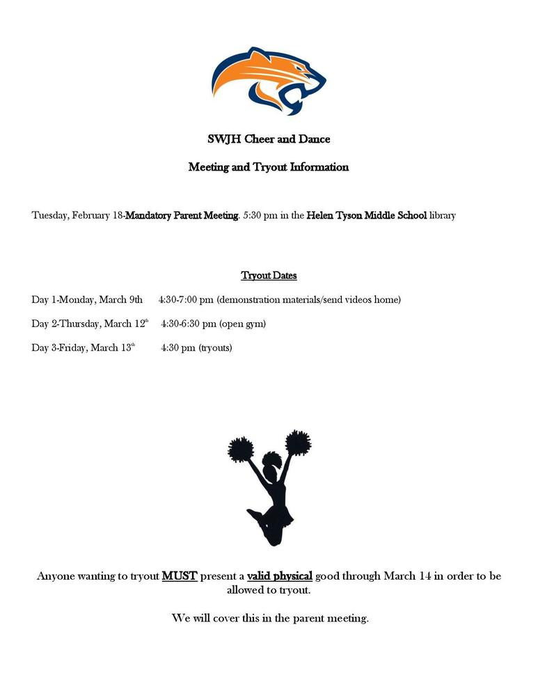 SWJH Cheer & Dance Tryouts