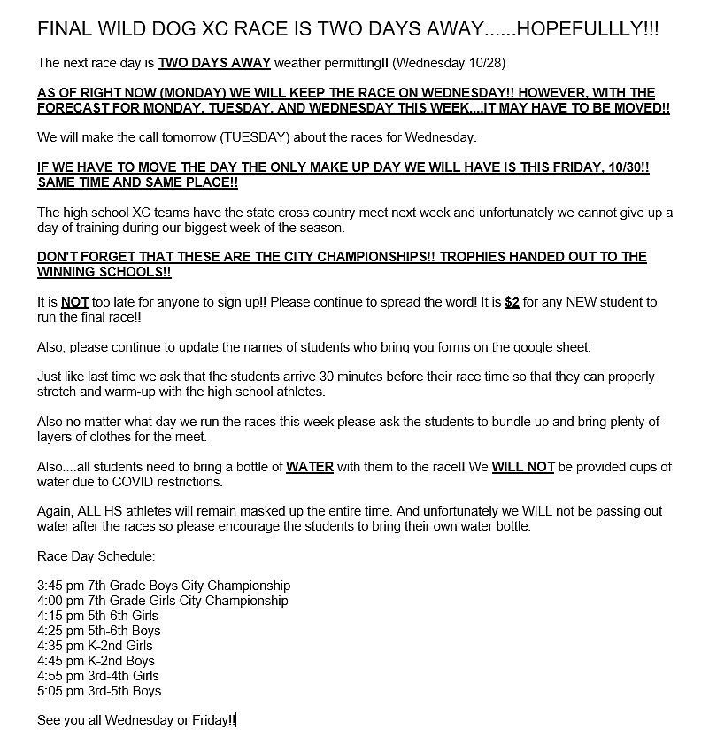 Final Wild Dog XC Race Weather Info
