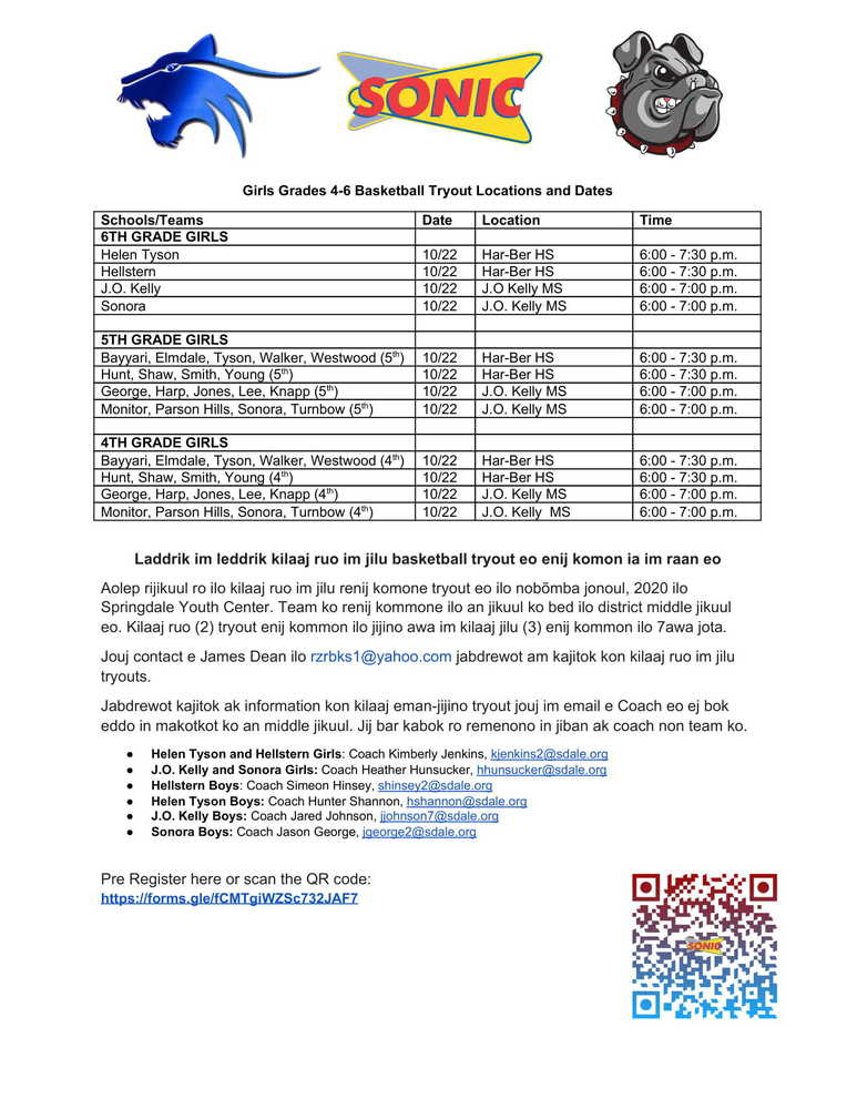 Girls Sonic Basketball Tryouts - Marshallese