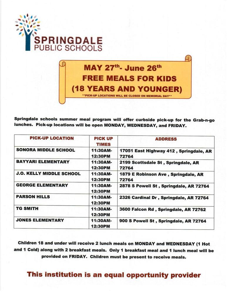 Summer Meals May 27 - June 26