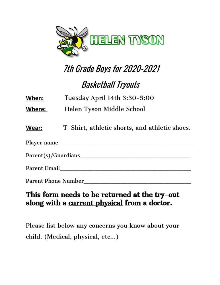 HTMS Boys Basketball Tryouts