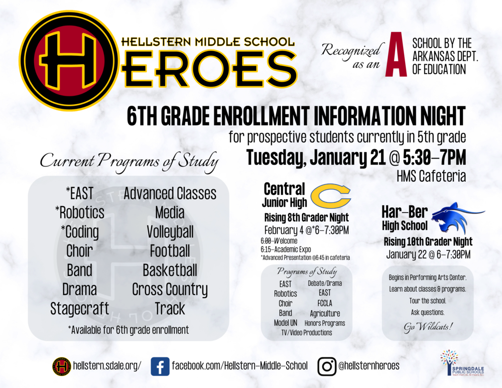 Hellstern Middle School 6th Grade Enrollment Night