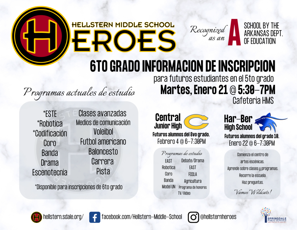 Hellstern Middle School 6th Grade Enrollment - Spanish version