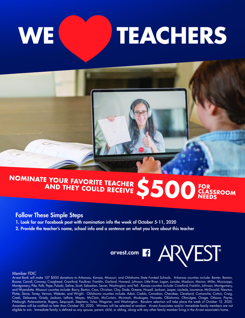 Arvest Teacher Giveaway