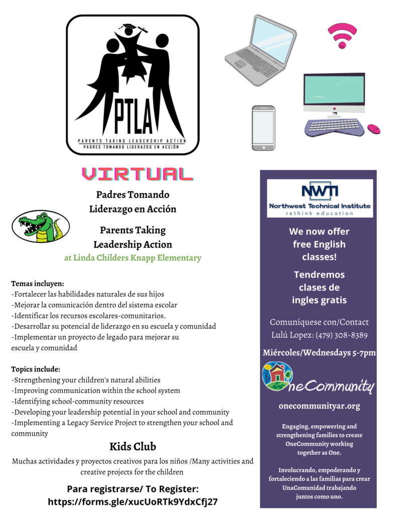 Parents Taking Leadership Action classes will be starting soon for Knapp families. See the flyer for additional information and how to register.