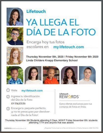 Picture Day is this week!  For this unique year, we have 2 picture days - Thursday and Friday.  All students at school will have their picture taken on Thursday, November 5th.   For any students that are a MWF blended learner, or that misses on Thursday, they will have their picture taken on Friday, Nov 6th.