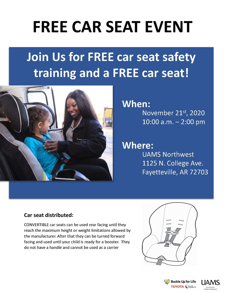 Here is some information for our families about  Thanksgiving guidelines from the Arkansas Center for Health Improvement and about getting free car seat training and a free car seat this Saturday at UAMS. See the flyers for additional information.