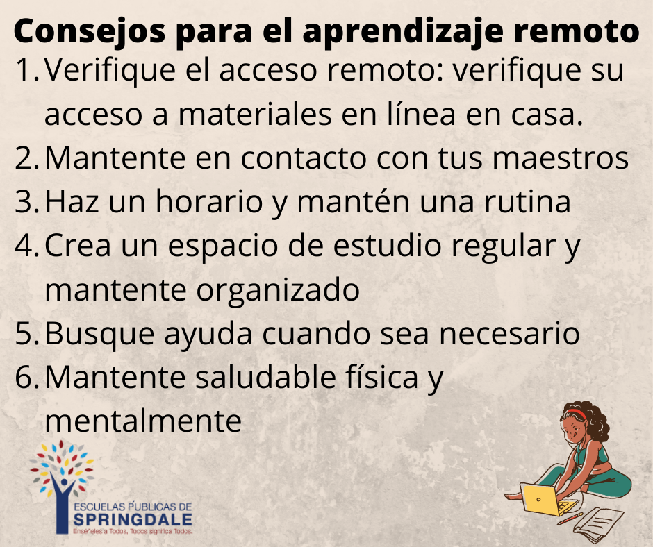 Tips for Remote Learning (Spanish)