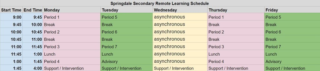Remote learning block schedule