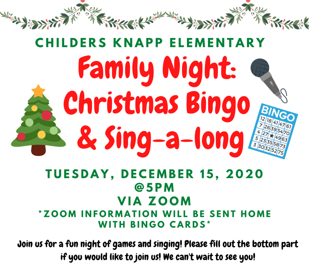 Join us for BINGO and a sing-a-long from home!! Make sure to return your RSVP!
