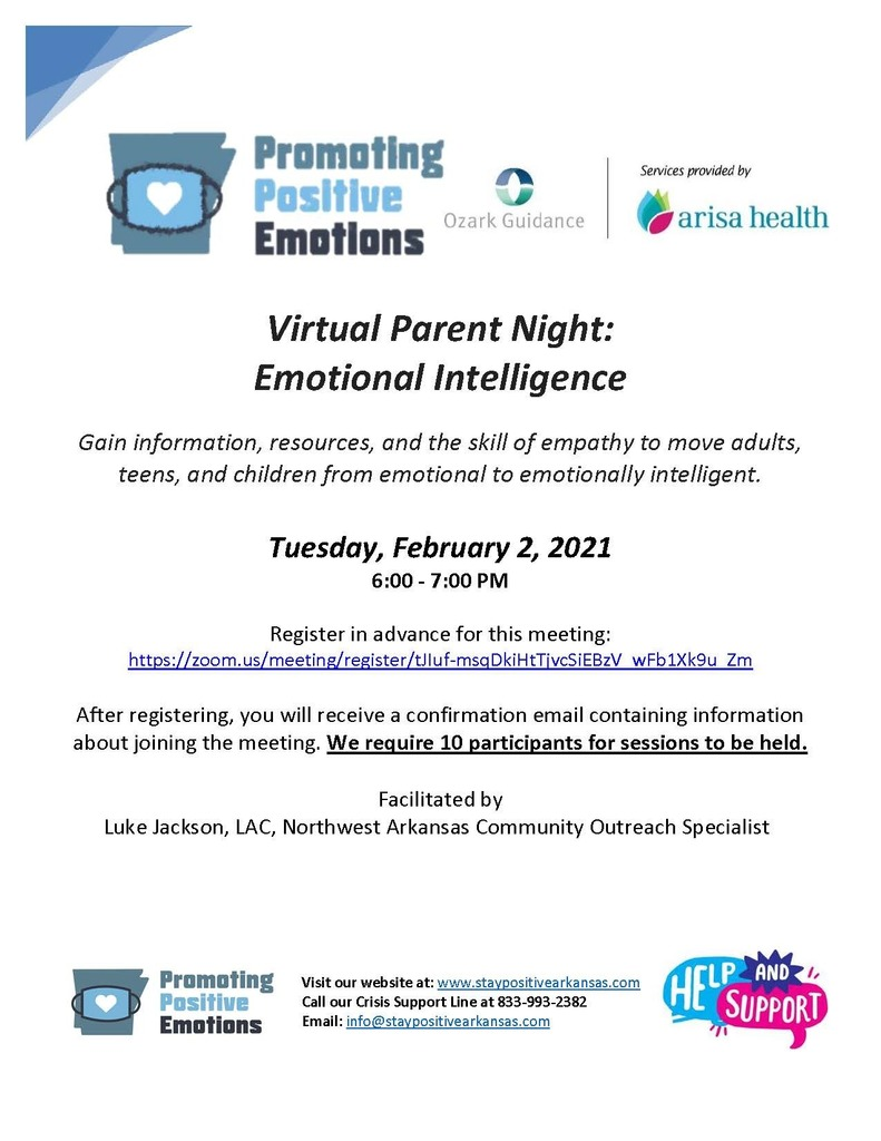 Families, you're invited to join Ozark Guidance, Arisa Health for a virtual parent night on Tuesday, February 2nd 6:00-7pm on Emotional Intelligence. Please see the attached flyers for additional information!