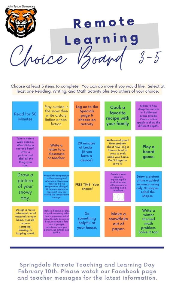 3-5 Choice Board English