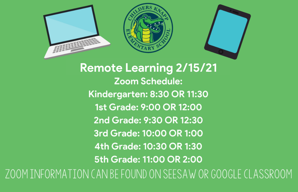 Due to inclement weather, we will have a remote learning day on Monday, February 15th. If possible, students need to attend one of the zoom times listed for their grade level to check in with their teacher. Please continue to check our social media for more updates.