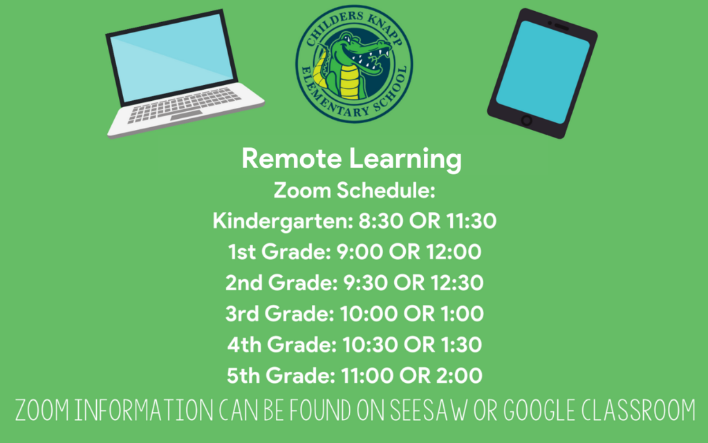 Due to inclement weather, we will have a remote learning day on Tuesday, February 16th. If able to, students need to attend one of the zoom times listed for their grade level to check in with their teacher. Students work for the day is on their Seesaw/Google Classroom. Please continue to check our social media for more updates.