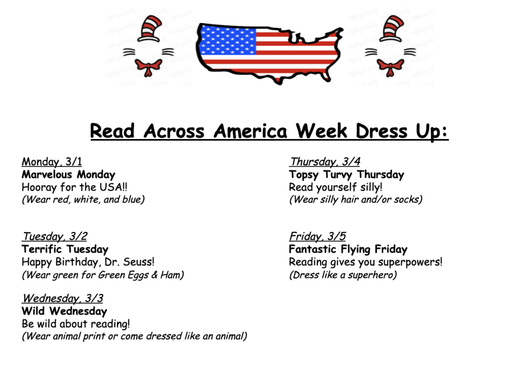 To celebrate Read Across America Week and show how much our Gators love reading, we will dress up next week! See the flyers below for details!