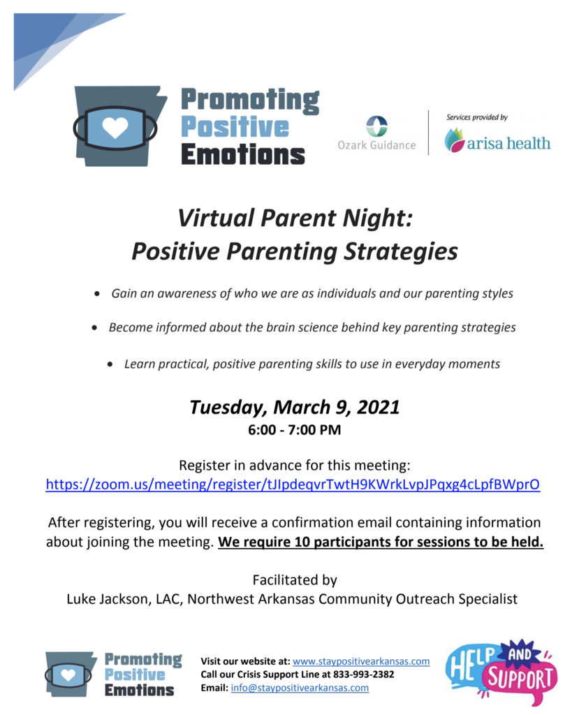 Gator Families, you are invited to join Ozark Guidance, Arisa Health for a virtual parent night on Tuesday, March 9th from 6:00-7:00pm on Positive Parenting Strategies. See the flyers below for more details!