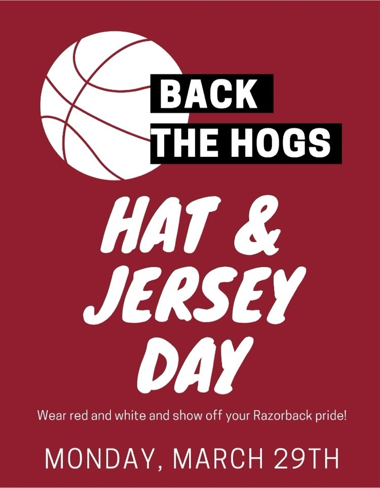 Jersey and hat day to support the Hogs!