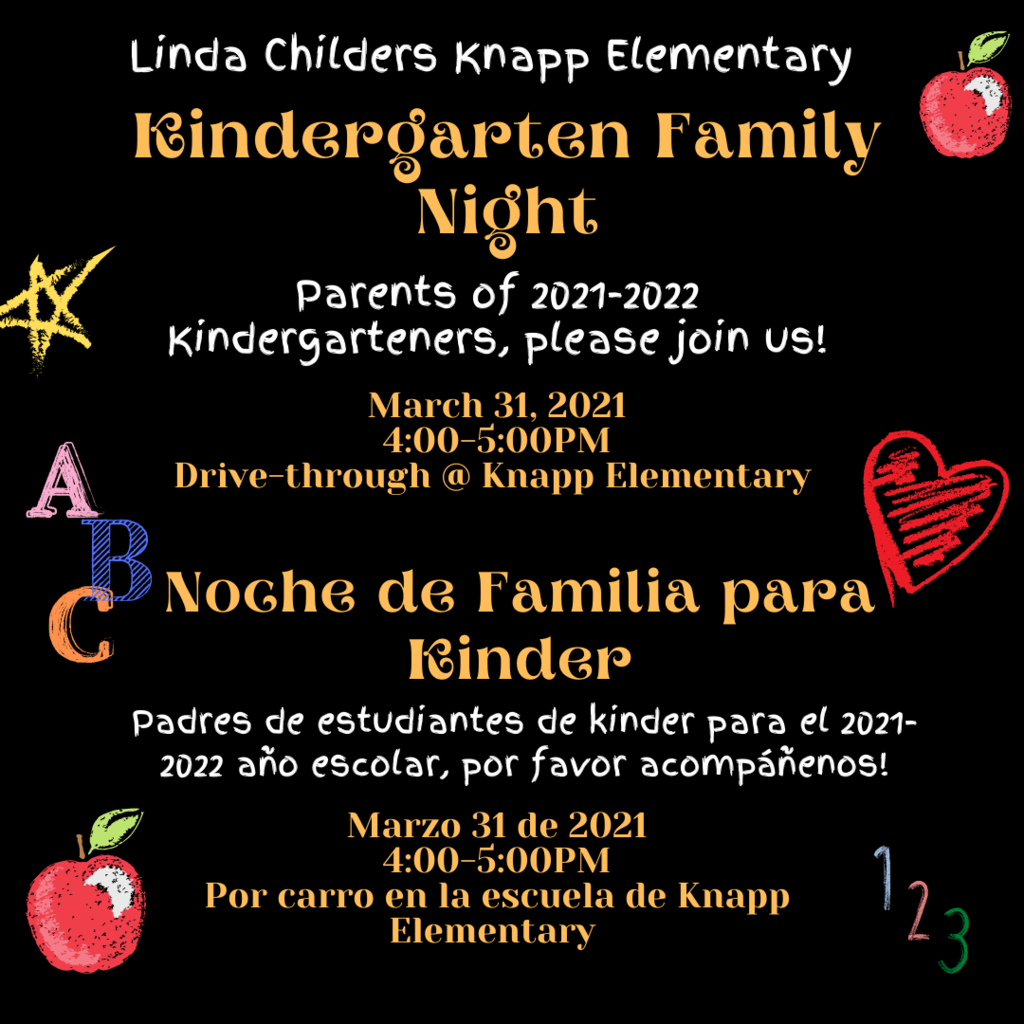 We will be hosting two drive through family nights for our 2021-2022 kindergarteners and for our new students coming from Lee Elementary. Please see the attached pictures for information.  Organizaremos dos noches de unidad familiar para nuestros estudiantes de kindergarten 2021-2022 y para nuestros nuevos estudiantes que vienen de la primaria Lee. Consulte las imágenes adjuntas para obtener información.