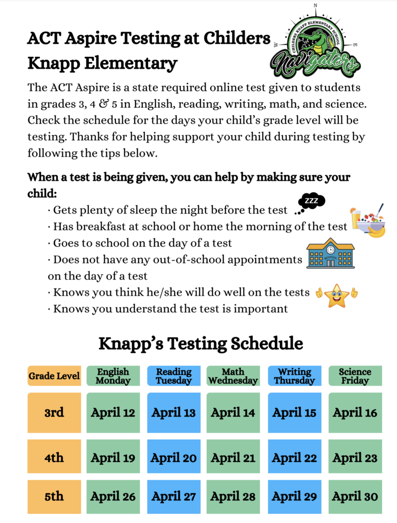 Attention Gator 3rd, 4th, and 5th Grade Families, State testing will be happening the next 3 weeks. 3rd grade starts MONDAY! It is important that your child be here every day and on time! We know our Gators are going to rock their tests!