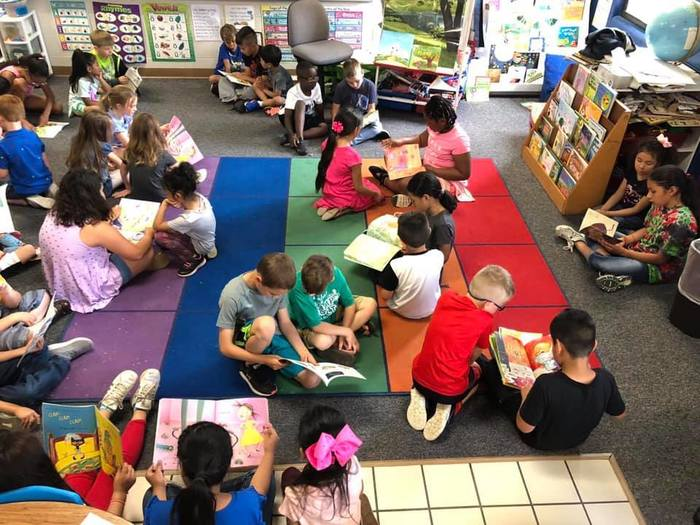 Buddy Reading with 3rd Grade and Kindergarten