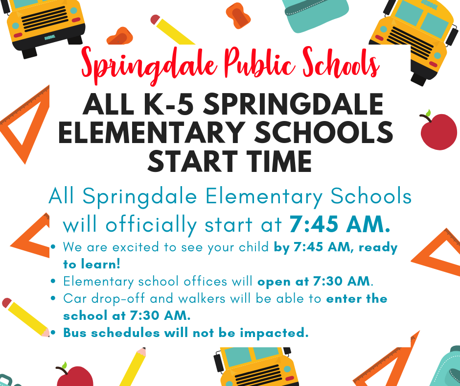 Elementary school day is 7:45AM - 3:00PM