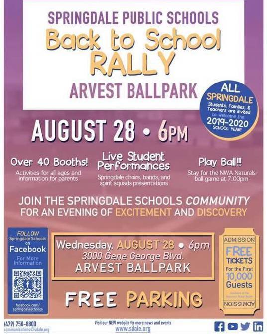 Back to School Rally at Arvest Ball Park on August 28th at 6PM.