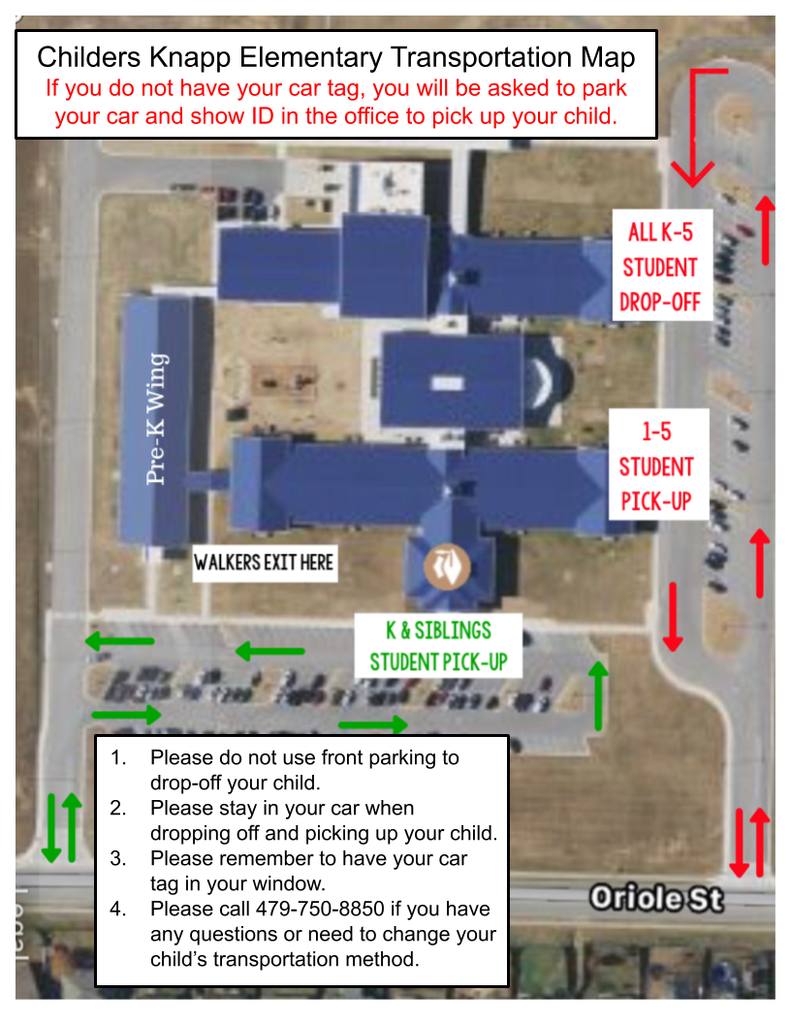 Transportation map for Childers Knapp Elementary 2019-2020 school year.