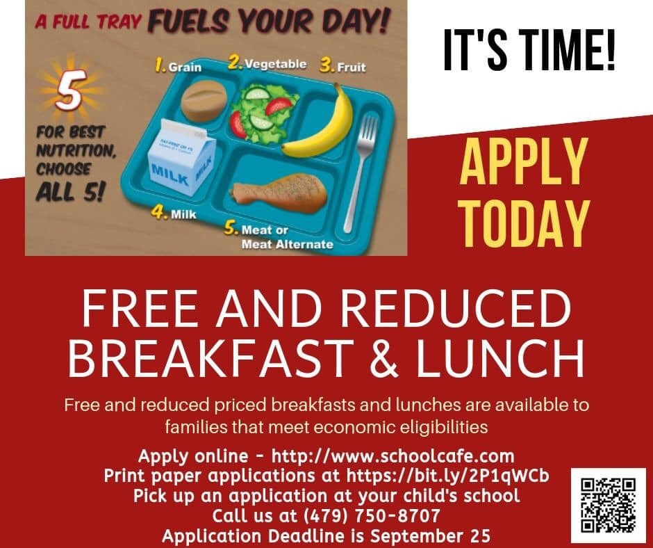 Apply for Free and Reduced Lunch today. Apply online at https://www.schoolcafe.com/