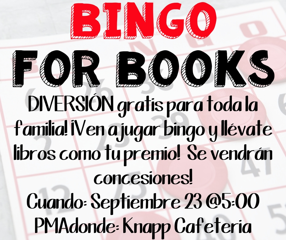 Bingo for Books - Monday, September 23 @ 5