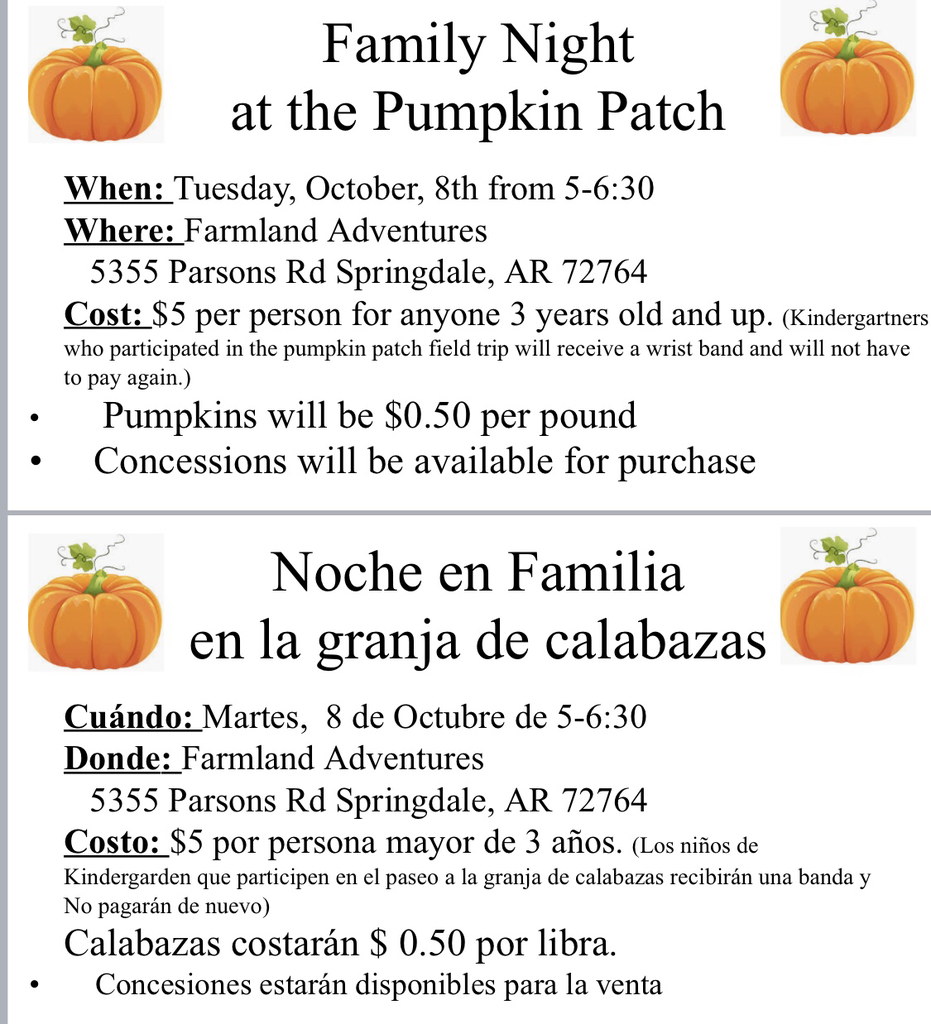 Pumpkin patch night, Tuesday, October 8th from 5-6:30 PM.