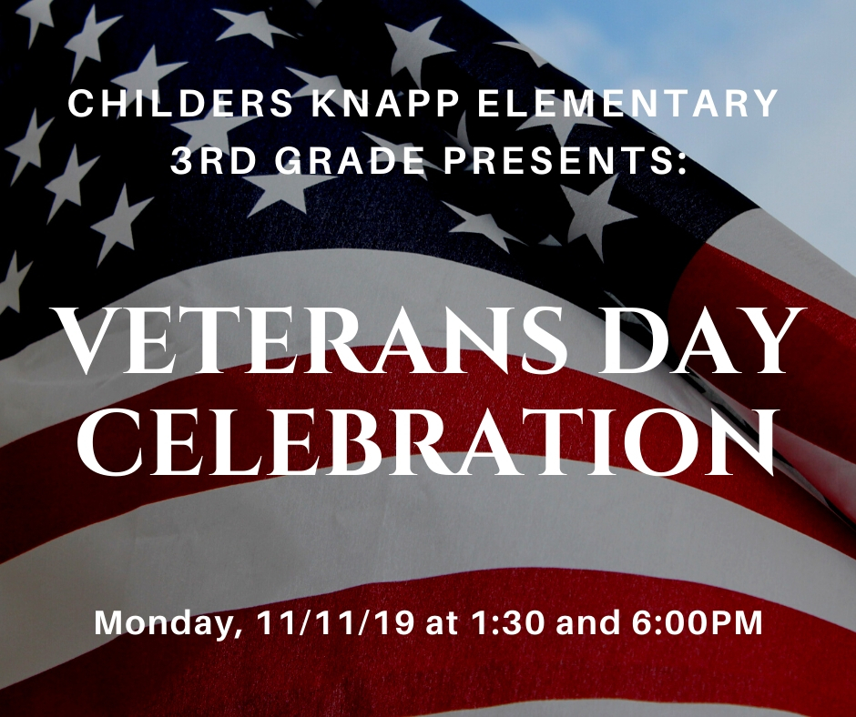 Veterans Day Celebration Monday 11/11/19 @ 1:30 & 6:00.