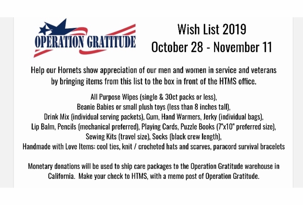 Operation Gratitude Items needed. Thank you 🇺🇸