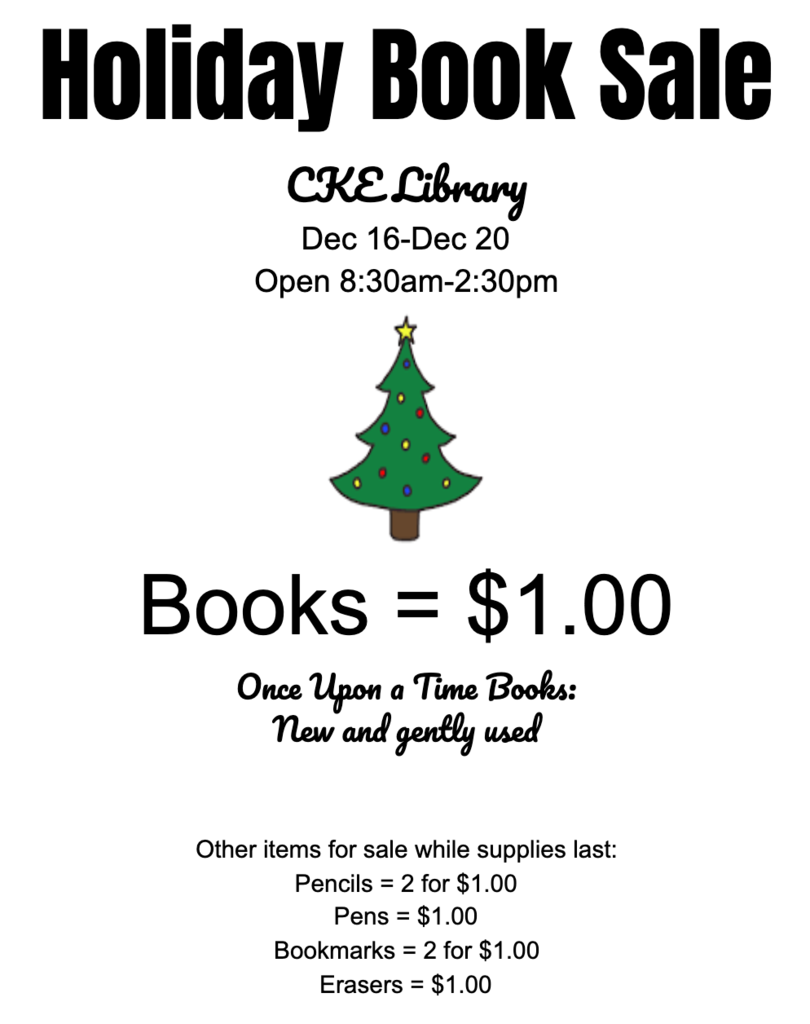 Holiday book sale - 12/16 - 12/20