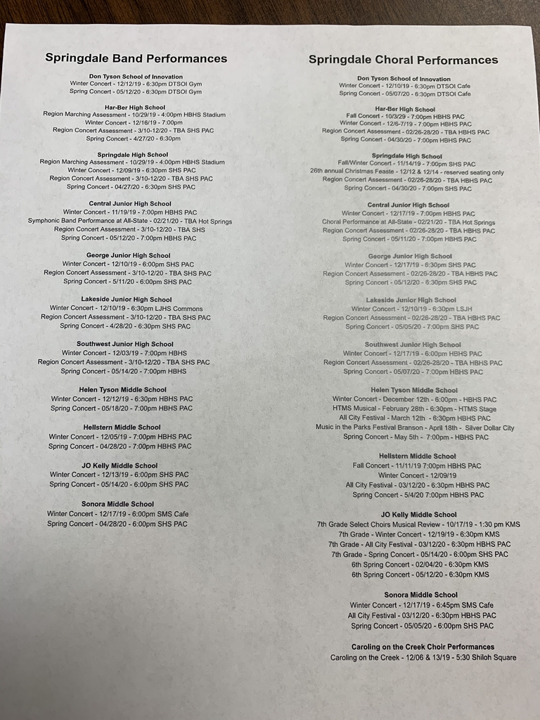 District list of band and choral events.