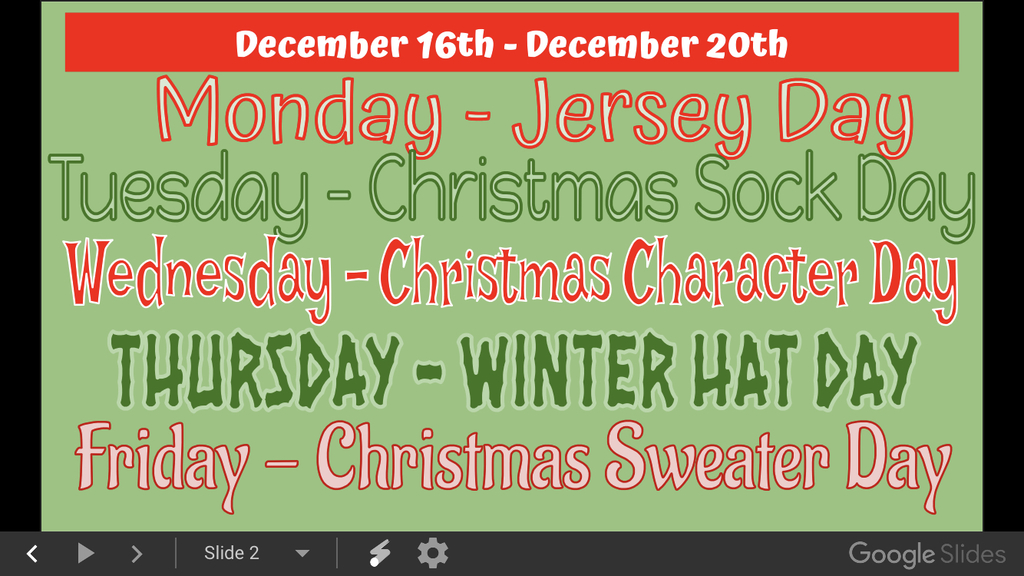 Christmas Spirit Week 2019!