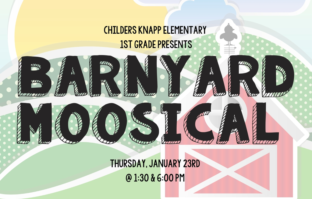 "We hope you can join us for the 1st-grade program ""Barnyard Moosical"" on Thursday, January 23rd at 1:30 and 6:00 PM 🐮🐷"