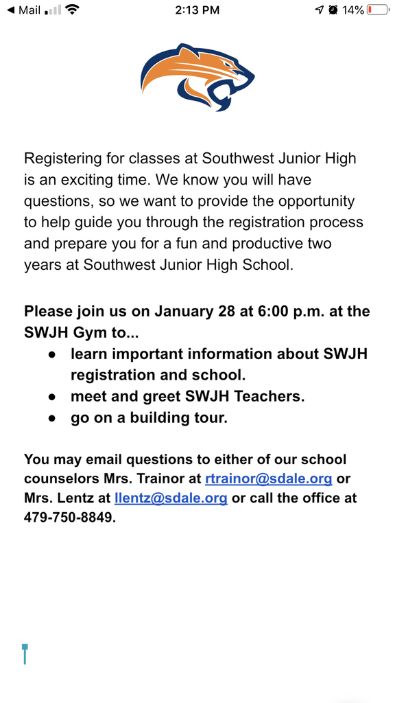 Going to 8th grade next year???  SWJH Open House tomorrow night at 6:00 pm.