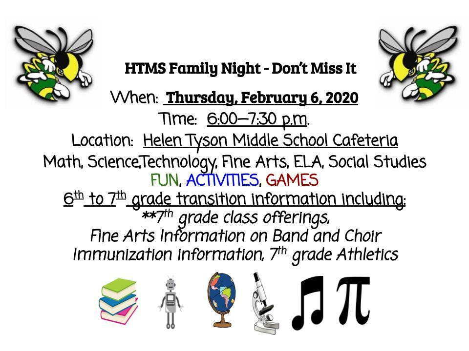 HTMS Family Night, February 6