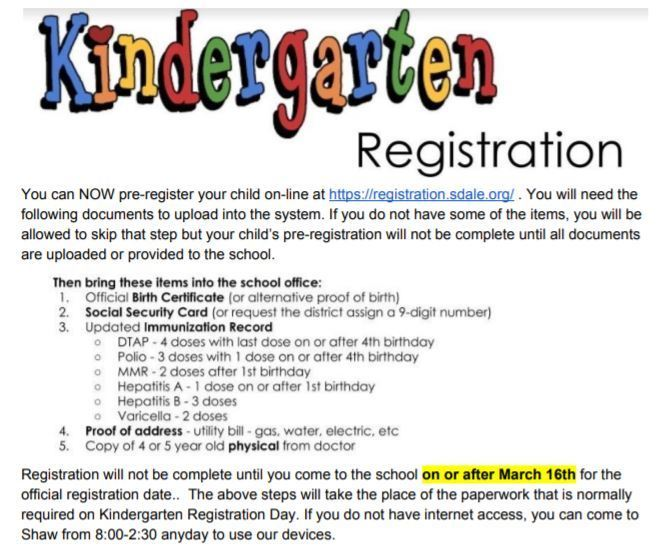 Kindergarten Pre-Registration is Now Open!