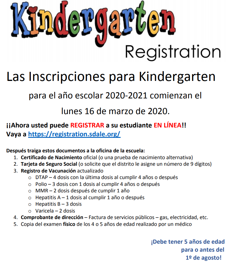 Pre-Registration is now open for Kindergarten 2020-2021. Follow these directions to pre-register if you live in Knapp's attendance zone. You must still come to Knapp on or after March 16th to complete the registration process.