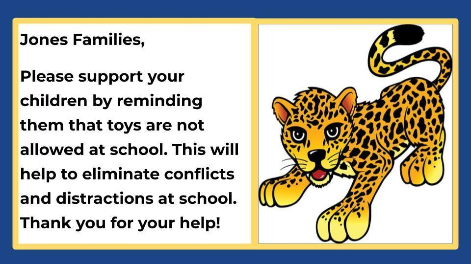 No Toys at School - English