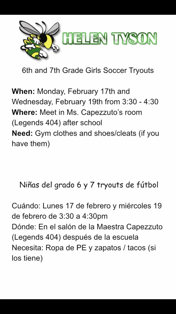 ⚽️⚽️⚽️ Soccer 🥅 Tryouts next week at HTMS