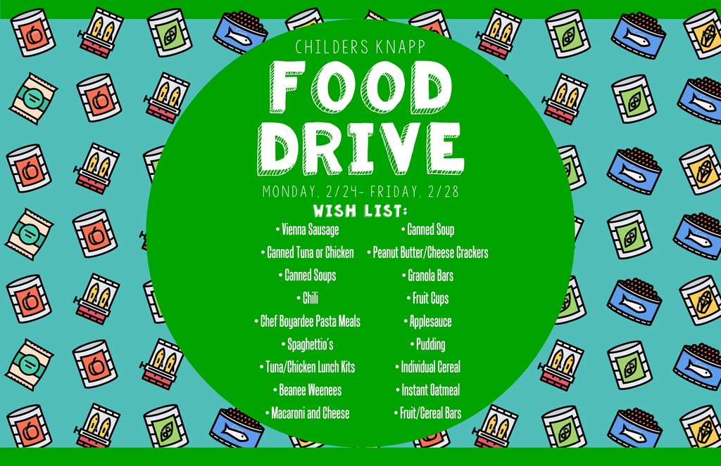 Next week, we are having a food drive to help build a supply for our little food pantries! If you can help, drop your items at the office!