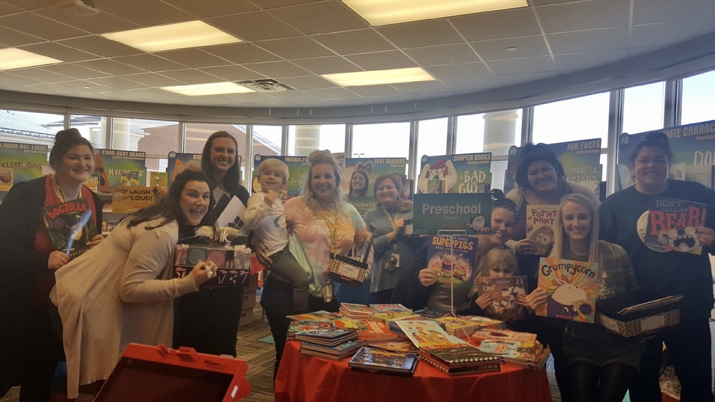 Teachers enjoying the book fair! Book fair opens for students on Monday!