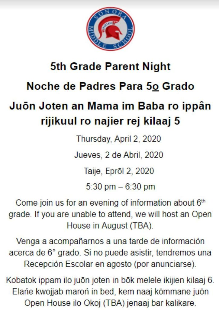 5th Grade Parent Night for Upcoming 6th Graders