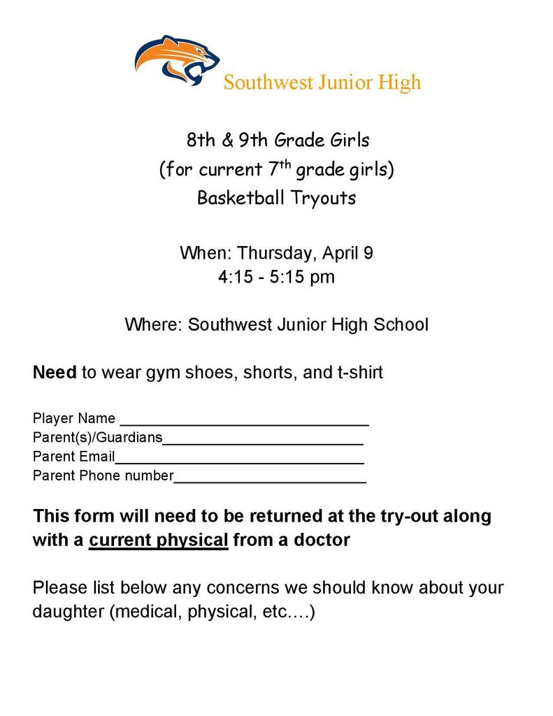 SWJH Girls Basketball Tryouts