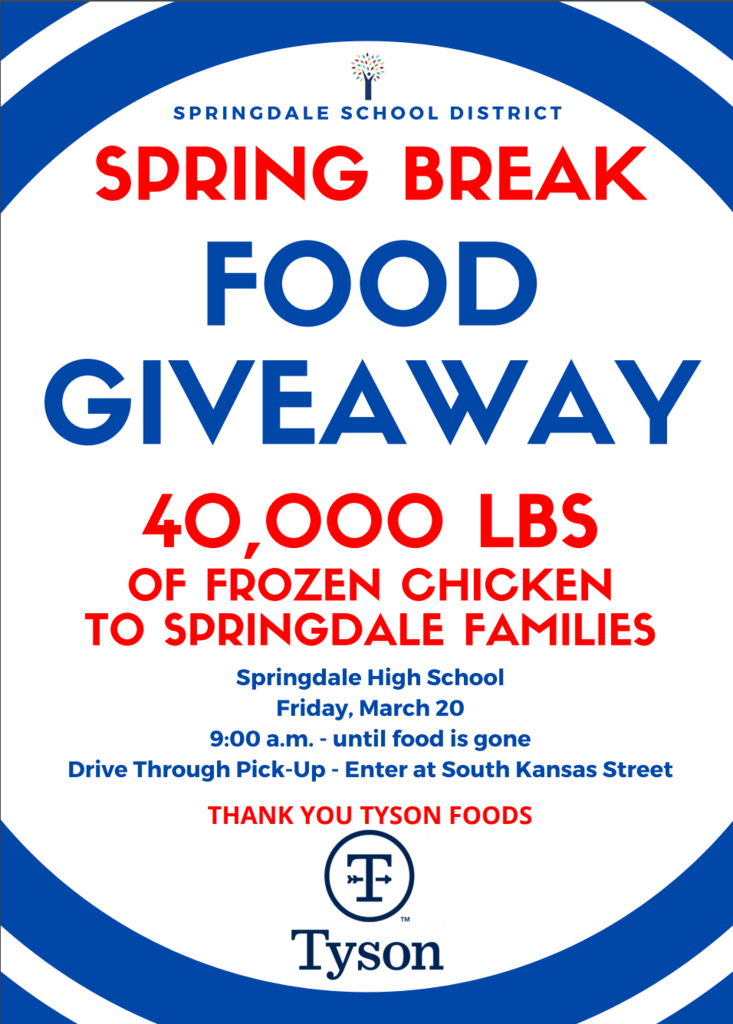 Tyson Foods will be giving away over 40,000 lbs of chicken to Springdale families. See the attached pictures for information.🍗
