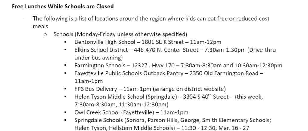 Free Meal Locations for Springdale