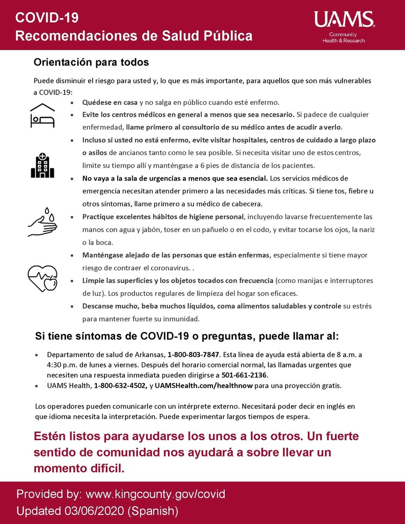 Coved-19 Guidelines, Spanish